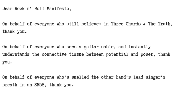 an open letter to the rock n' roll manifesto ...